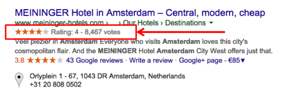 Rich snippet SEO example