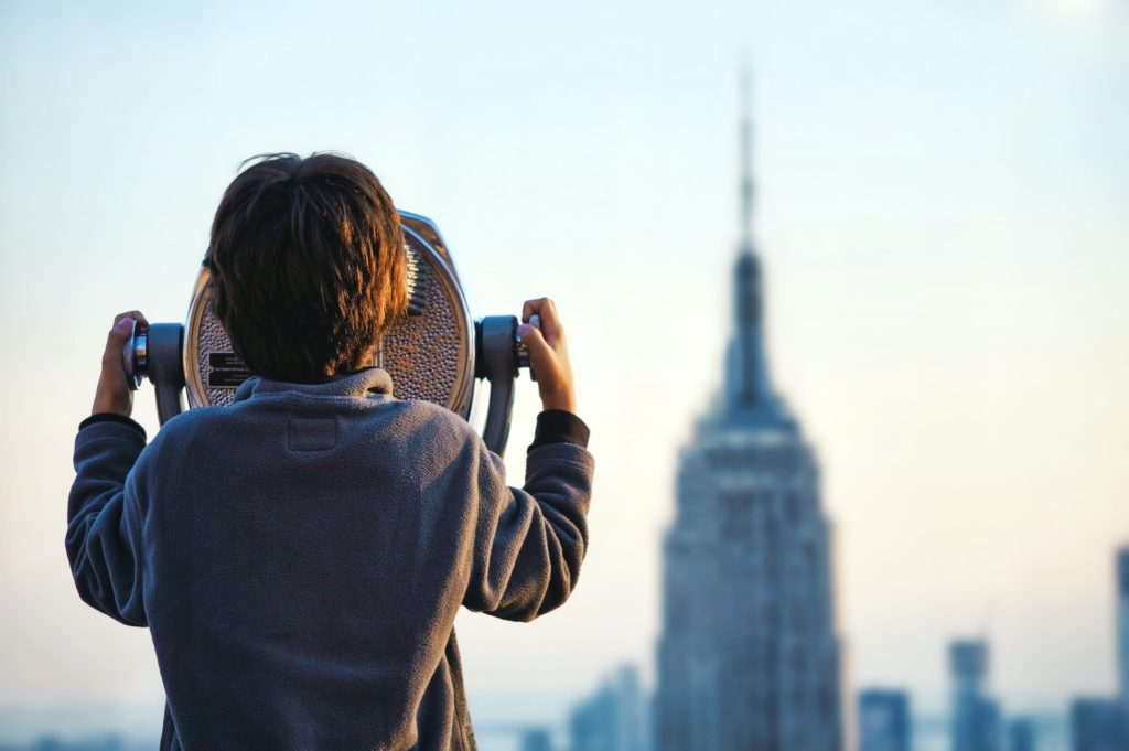 boy looking at Empire State Building