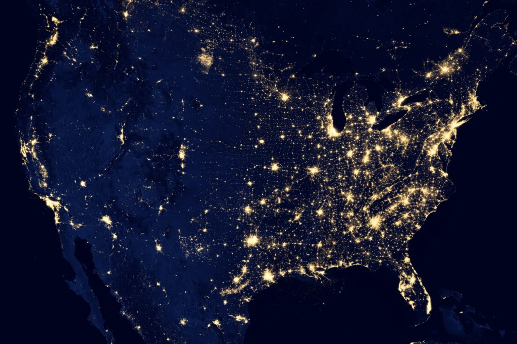 NASA photo from space of United States
